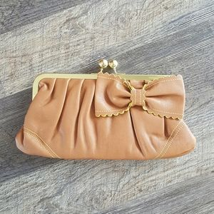 Jessica Simpson brown gold bag clutch